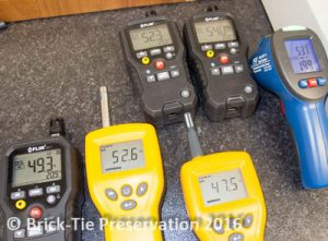 a range of electronic damp meters being compared