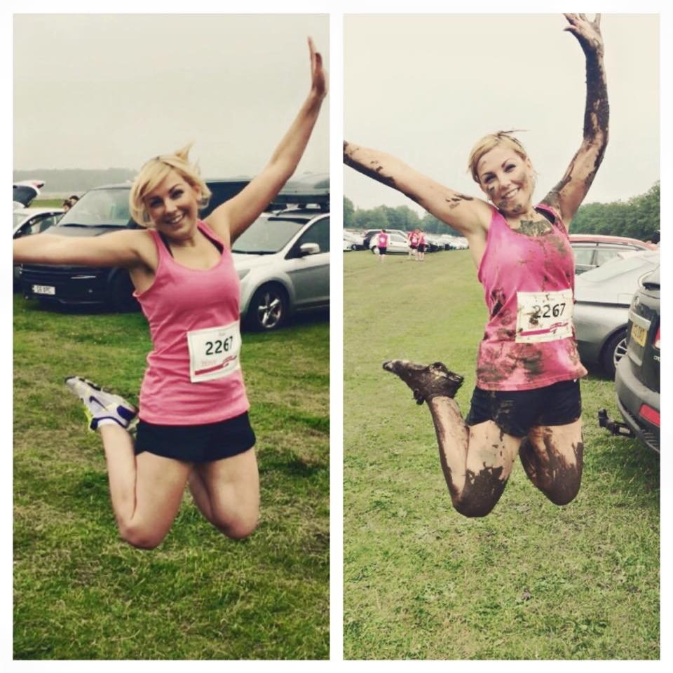Sian Caley runs the 5k muddy for Cancer Research