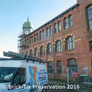Commercial structural repairs to a mill in Leeds using Helifix helibars and Fosroc render and Sika products