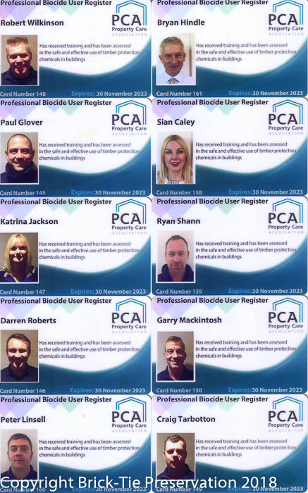 Brick-Tie staff are all PCA professional biocide users register