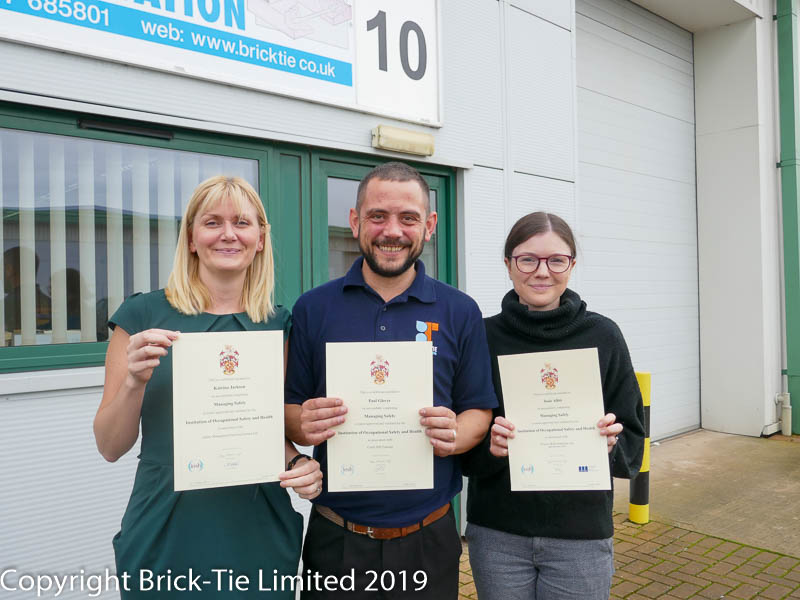 Brick-Tie staff IOSH qualified